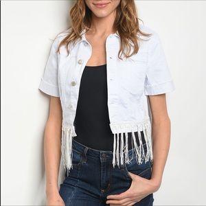 White Denim Cropped Jacket with Fringe